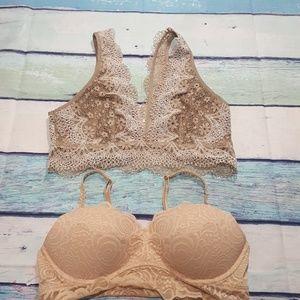2- PINK bra & Victorias secret bralette large nude